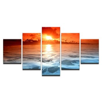 Sunset Glow Reflection Sea Ocean The Sky Red Sea Waves Seascape Framed UNframed
