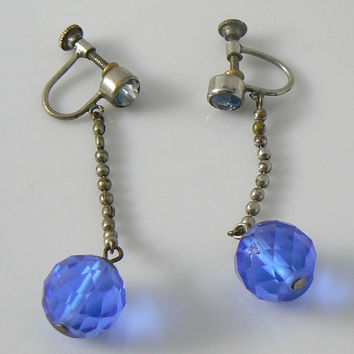 Art Deco Blue Glass Stone Dangle Earrings