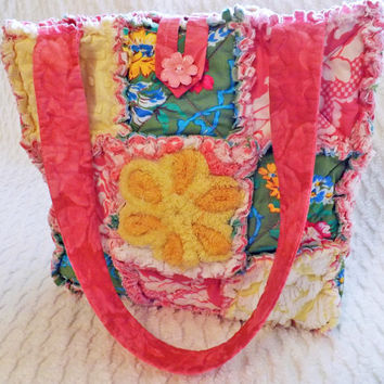 Rag Quilt Tote made with Vintage Chenille, Pink, Green, Yellow, Floral
