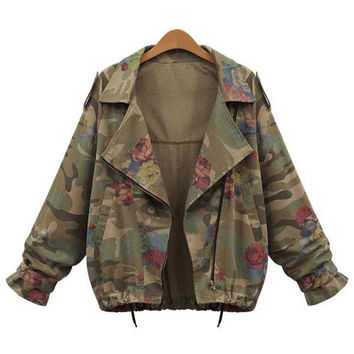 Army Green Turn-Down Collar Camouflage Pattern Floral Jacket