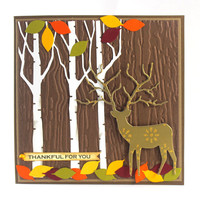 Happy Thanksgiving Card, Thankful for you, Deer, Autumn Card, Fall