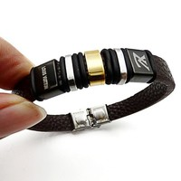 LV Louis Vuitton Trending Women Men Casual Stainless Steel Leather Bracelet With Leather Bracelet Laser Engraving Lovers Bracelet