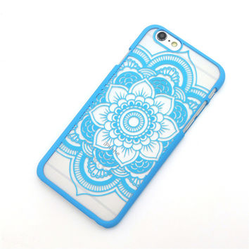 Beautiful Floral Henna Paisley Mandala Palace Flower Light Blue Phone Back Bumper Cover Case For iPhone 5 5s 5C SE 6 6s 6 Plus 6s Plus