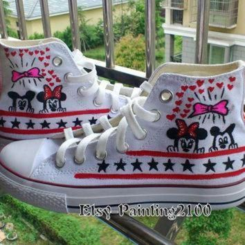 DCCK1IN disney mickey shoes hand painted shoes mickey mouse shoes custom converse shoes bi