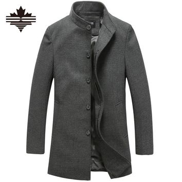 Men's Wool Jackets Spring Autumn Brand Men Woolen Coats Middle Long Jackets And Coats Mens Warm Wool Overcoat Size 3XL 2XL