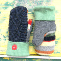 WOOL SWEATER MITTENS, Recycled Mittens, Navy Mittens Women's Made in Wisconsin Lambswool Blue Red Green Yellow Stripes SweatyMitts