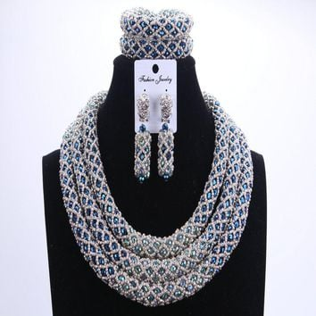 Silver Blue Beads Wedding Jewelry Sets