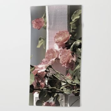 Pink Roses on Fence Rail Beach Towel by Theresa Campbell D'August Art