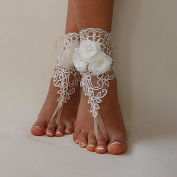 İvory Lace Shoes,Bridal Lace Sandals,Beach Wedding,Barefoot Sandals,Bridal Anklet
