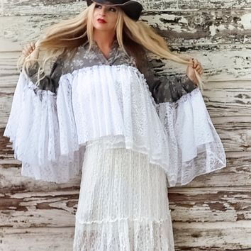 Gypsy spell denim n lace poncho tunic shabby chic True Rebel Clothing