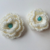 Crochet flower brooch white rose applique multi layer pin clip