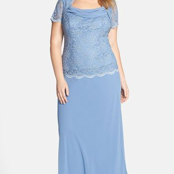 Plus Size Women's Alex Evenings Cowl Neck Chiffon & Lace Gown,