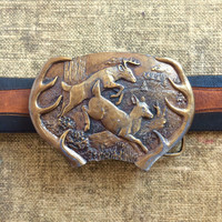 Running Deer Belt Buckle - Bergamot Brass Works Buckle 1977 - Made in USA