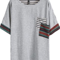 Sheinside Women's Grey Short Sleeve Striped Pocket T-Shirt