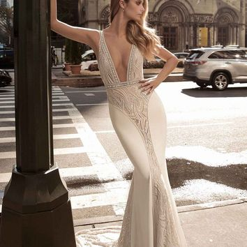Berta Plunge Neck Illusion Mermaid Gown (In Stores Only) | Nordstrom