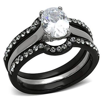 WildKlass Stainless Steel Ring Wedding Two-Tone IP Black Women AAA Grade CZ Clear