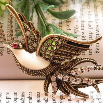 Pretty retro copper Crystals Swallow bird by toofashion2010