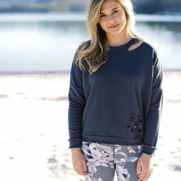 Observe Distressed Pullover, Navy