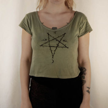 occult handprinted top ~ original drawing ~ pentagram ~ bird skulls~crescent moon ~ satanic ~ witchy ~hand dyed ~