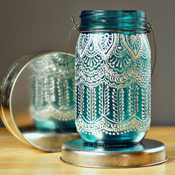 Hand Painted Mason Jar Lantern with Peacock Blue Glass by LITdecor