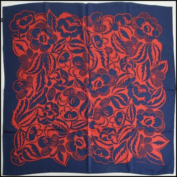 RDC8754 Authentic Chanel Navy Blue/Red Tribal Camellia 90 cm Silk Twill Scarf