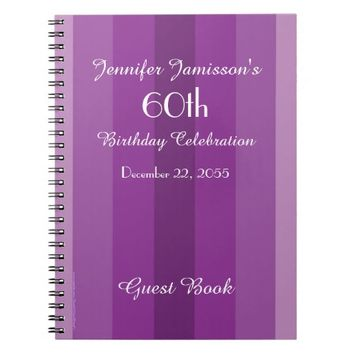 60th Birthday Party Guest Book Purple Stripe