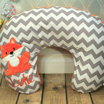Personalized Fox Nursing Pillow Cover in Your Choice of Fabrics