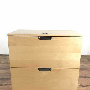 Contemporary Wood Two Drawer File Cabinet