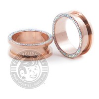 Rose Gold Aurora Borealis Bling Threaded Steel Tunnels