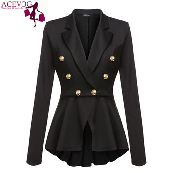 ACEVOG Office Lady Blazer For Women Autumn Winter Jacket Coat Single Button Black Slim Blazer Jackets Plus Size