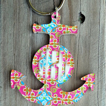 Anchor monogram keychain