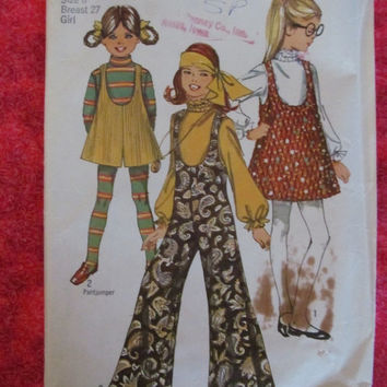 Sale 1960's Simplicity Sewing Pattern, 8379! Size 8, Girls, Breast 27, Kids, jumpers, Jump suits, hippie style, summer and spring