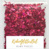 Holographic Glitter Pieces- Ruby
