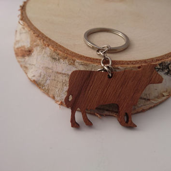 Wooden Cow Keychain, Walnut Wood, Animal Keychain, Environmental Friendly Green materials