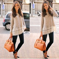 Fashion Cute Long Sleeve Lace Tops