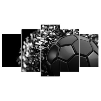 Black Soccer Ball Player Sport Wall Art Canvas Panel Print Framed Unframed