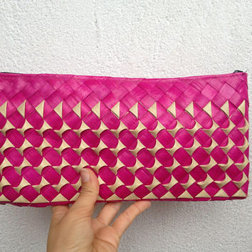 Straw Clutch Bag, Raffia Clutch Purse, Hot Pink Clutch, Textured Purse, Geometric Clutch, Zipper Pouch, Fuchsia Clutch, Summer Clutch