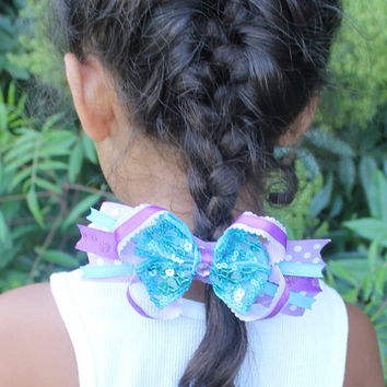 Beautiful Blue beaded sequin ribbon & purple Boutique layered pinwheel Hairbow