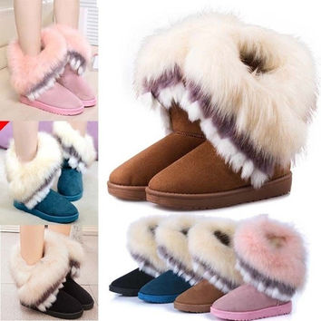 Women Ladies Winter Flat Snow Ankle Boots Warm Faux Rabbit Fur Shoes = 1932850692