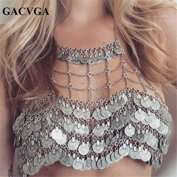 GACVGA 2018 Metal Money Tassel Women Crop Tops Hollow Tank Top Women's Bra Summer Sexy Beach Crop Top Bralette Cropped Vest