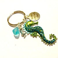 Seahorse Key Chain, Coastal Accessory, Sea Glass Keychain, Beach is My Happy Place Key Ring