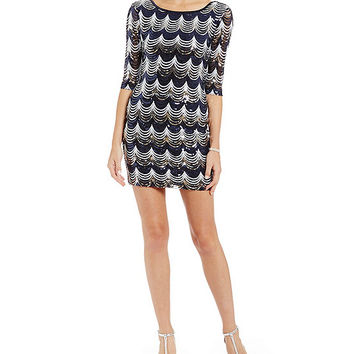 Midnight Doll Sequin Scalloped Sheath Dress | Dillards