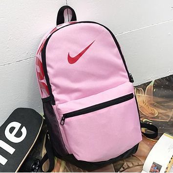 NIKE Fashion New Hook Print Women Men Travel Leisure Backpack Bag Pink