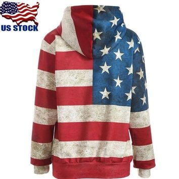 USA Womens American Flag Printing Hooded Sweatshirt Pullover Hoodie Coat Sweater