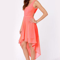 Back's Treat Bows Neon Coral High-Low Dress