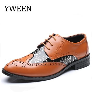 YWEEN Luxury Brand Men's Pointed Toe Dress Shoes Men Brogue Leather Wedding Oxford Shoes EUR 37-48