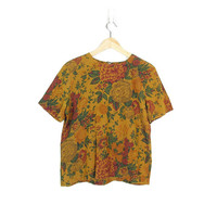 Vintage Floral Blouse, Fall Colors, 90s Antique Flower Print Rayon Short Sleeve Shirt, Mustard Ochre & Forest Green -- Womens S / M