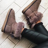 UGG Winter Stylish Women Retro Two Bowknots Leather Snow Boots Coffee I/A