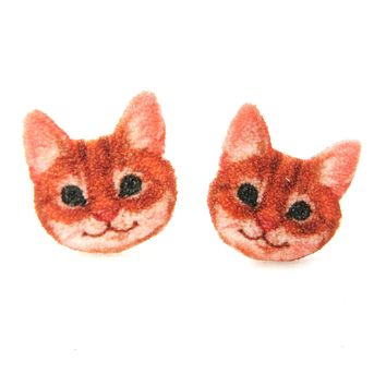 Orange Tabby Kitty Cat Face Shaped Animal Stud Earrings | Handmade Shrink Plastic