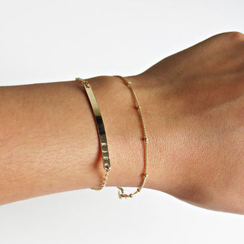 Simple Gold Bracelet, Delicate Gold Bracelet, Dainty Chain, Dainty Jewelry, Everyday Bracelet, Chain Bracelet, Beaded Chain